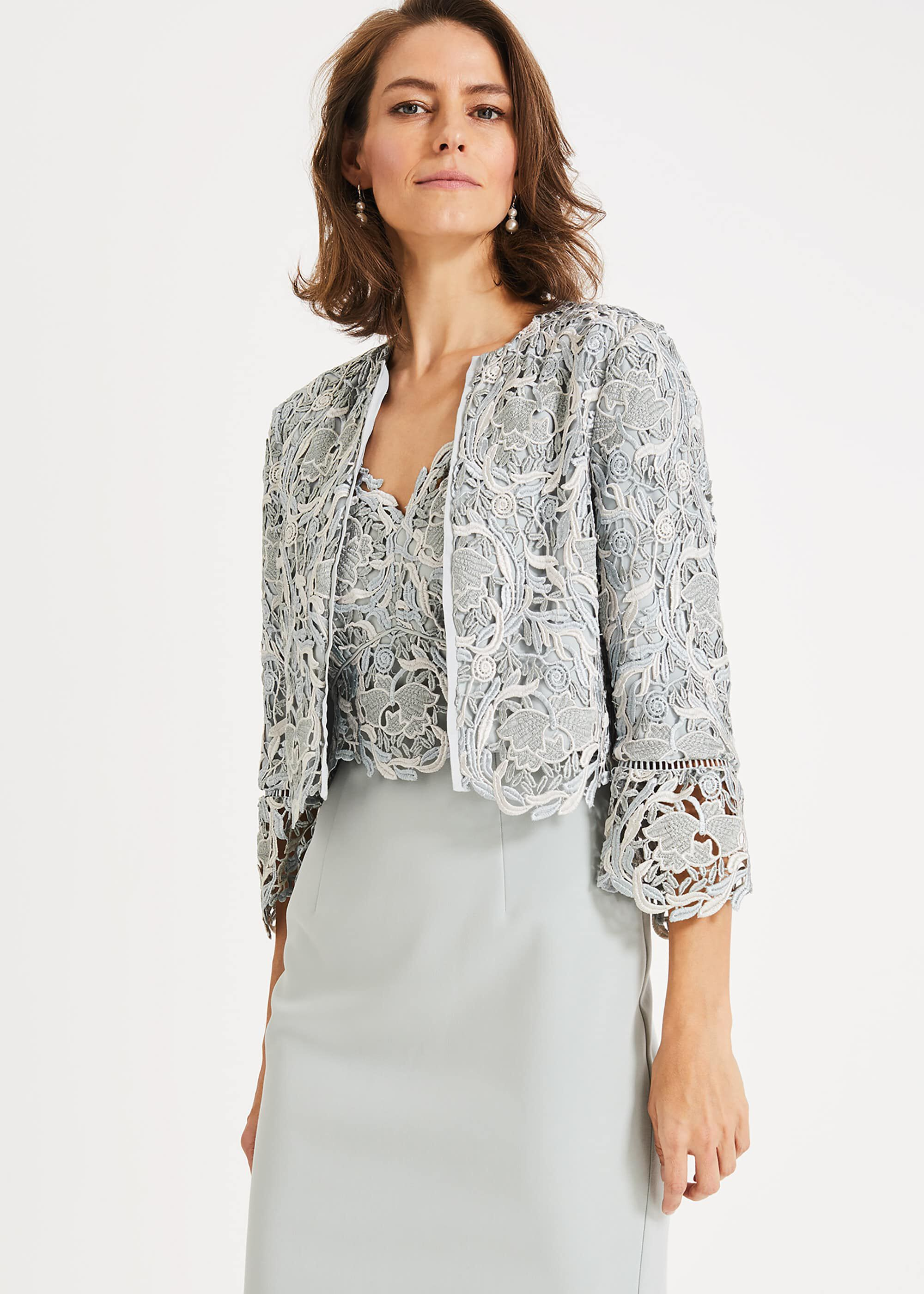Phase Eight Ellise Lace Jacket, Blue