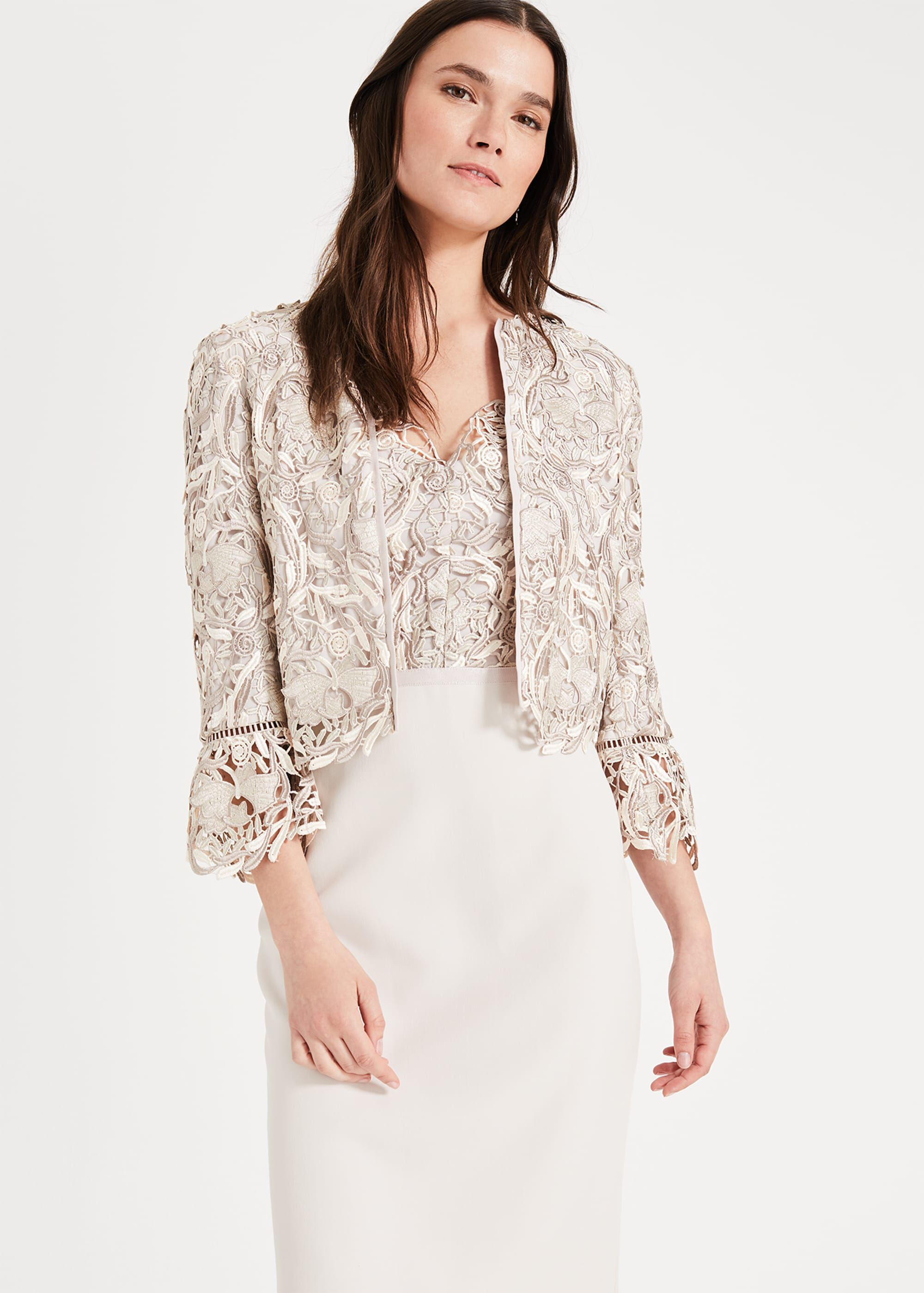 Phase Eight Ellise Lace Jacket, White