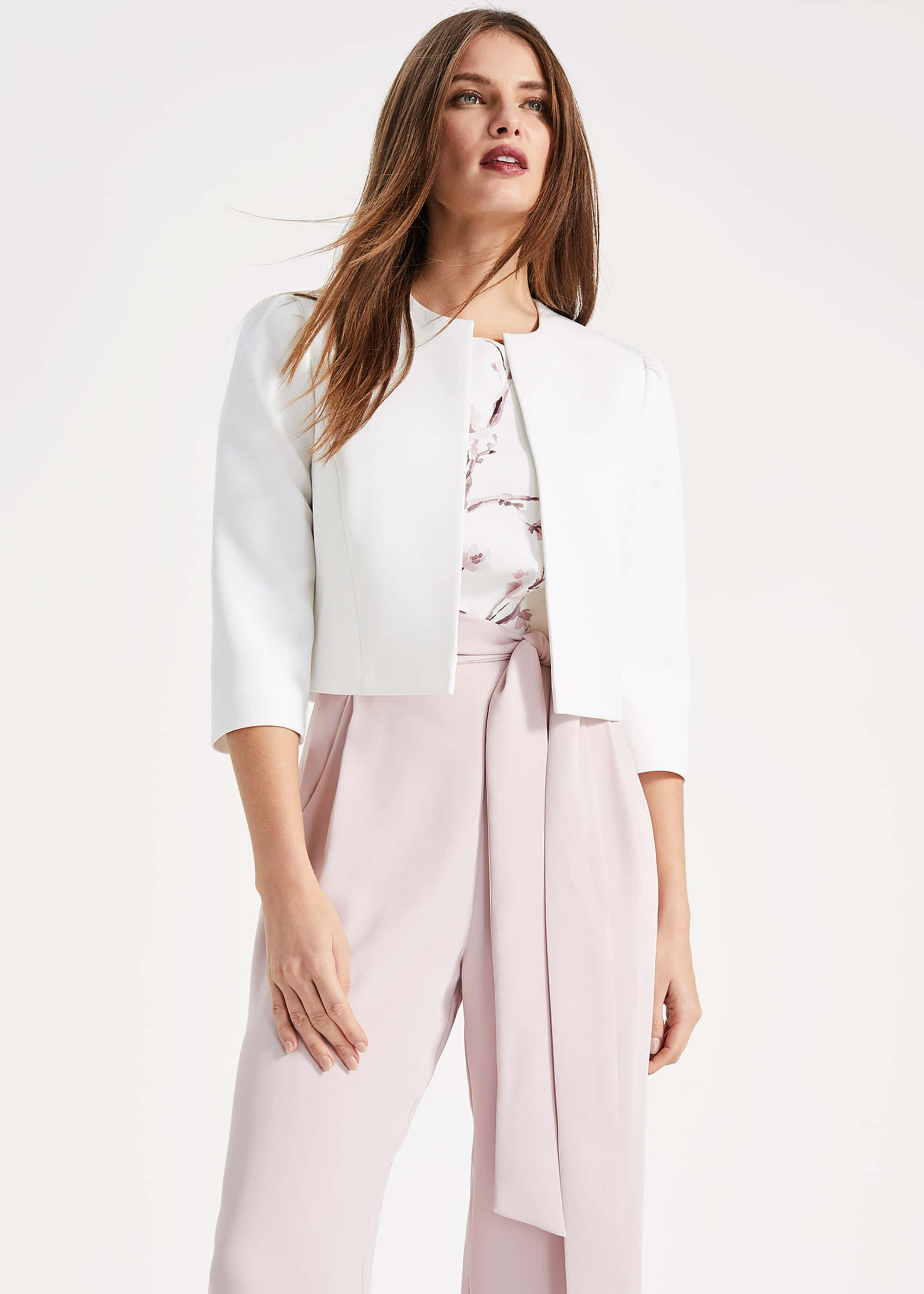 Phase Eight Venita Cropped Jacket, Cream