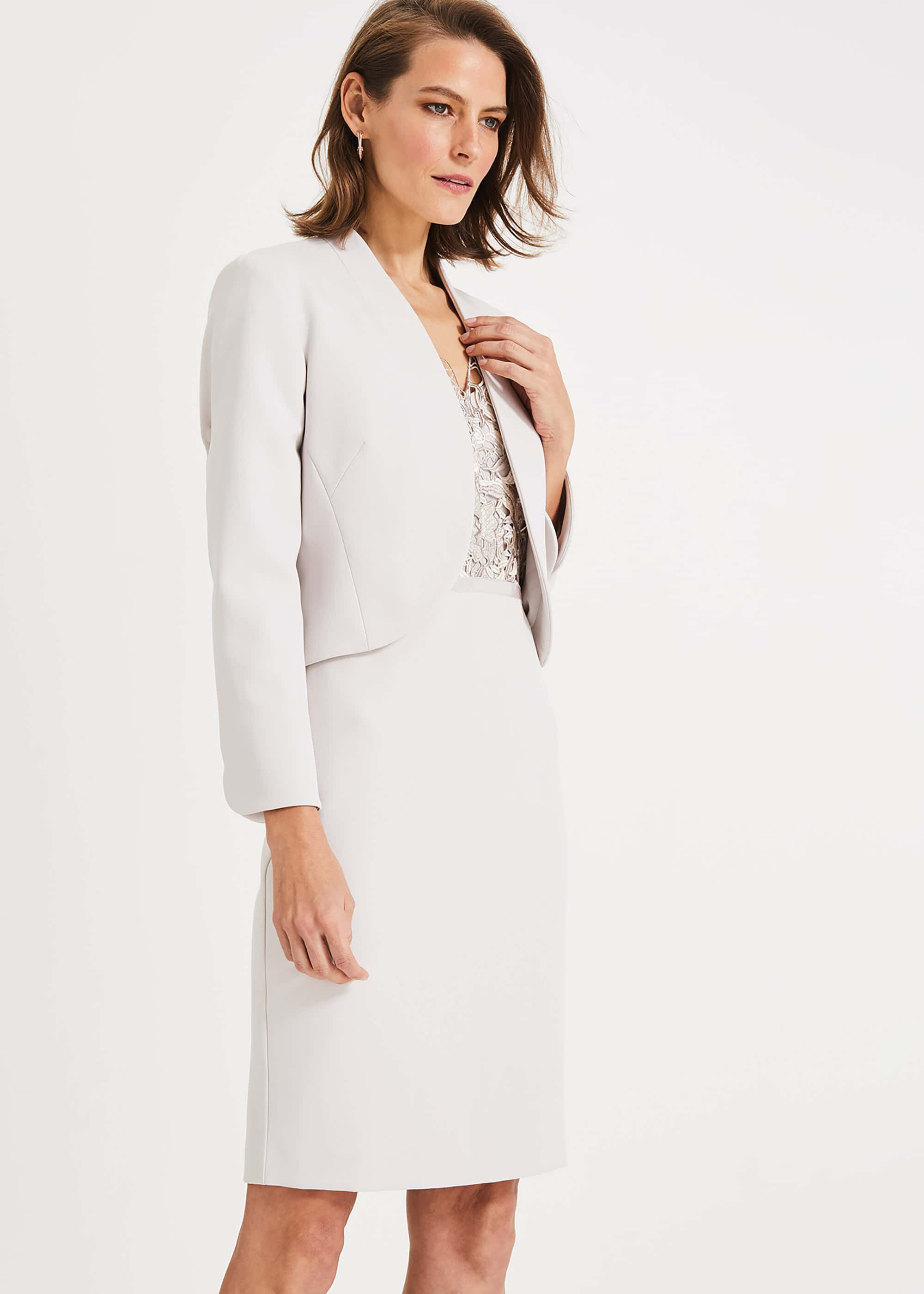 Phase Eight Caroline Peplum Back Jacket, Cream