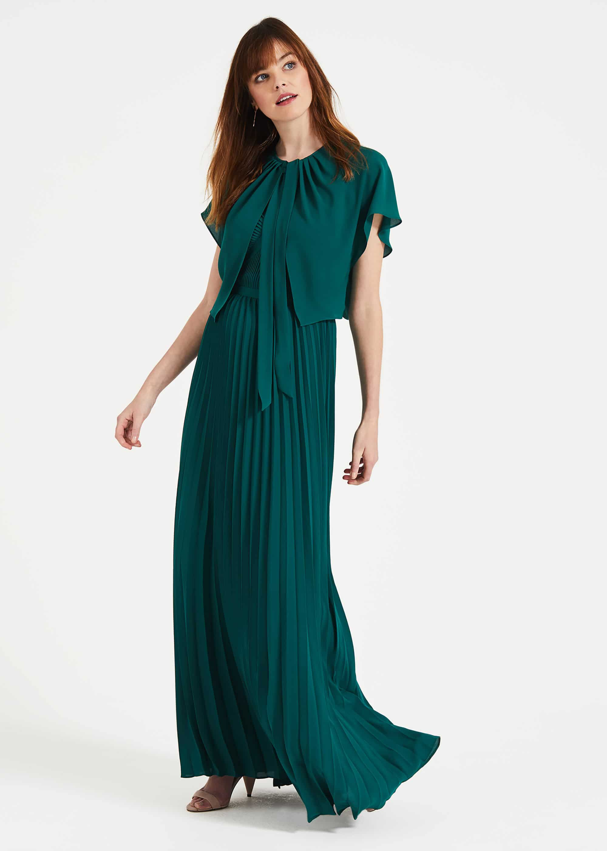 70s Prom, Formal, Evening, Party Dresses Phase Eight Giovanna Cape Green £25.00 AT vintagedancer.com