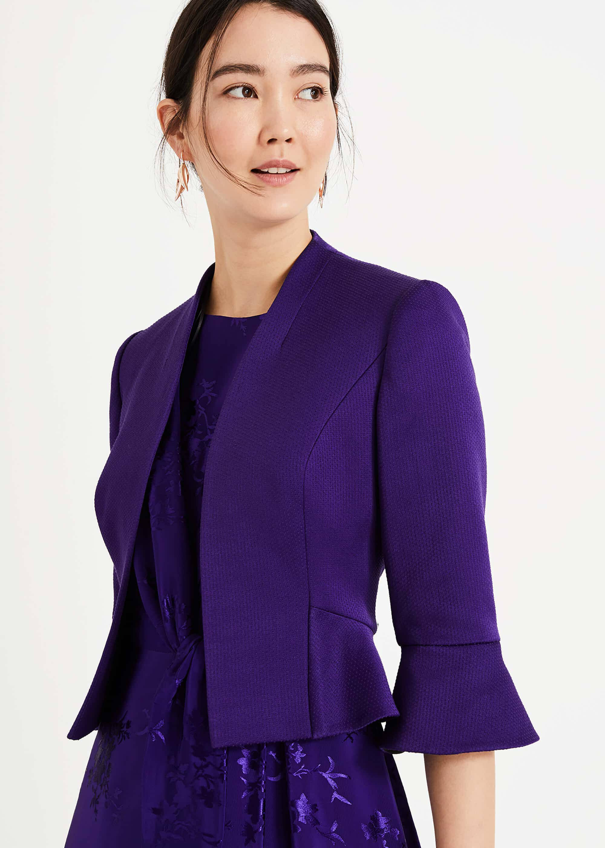 Phase Eight Amanda Flared Cuff Jacket, Purple