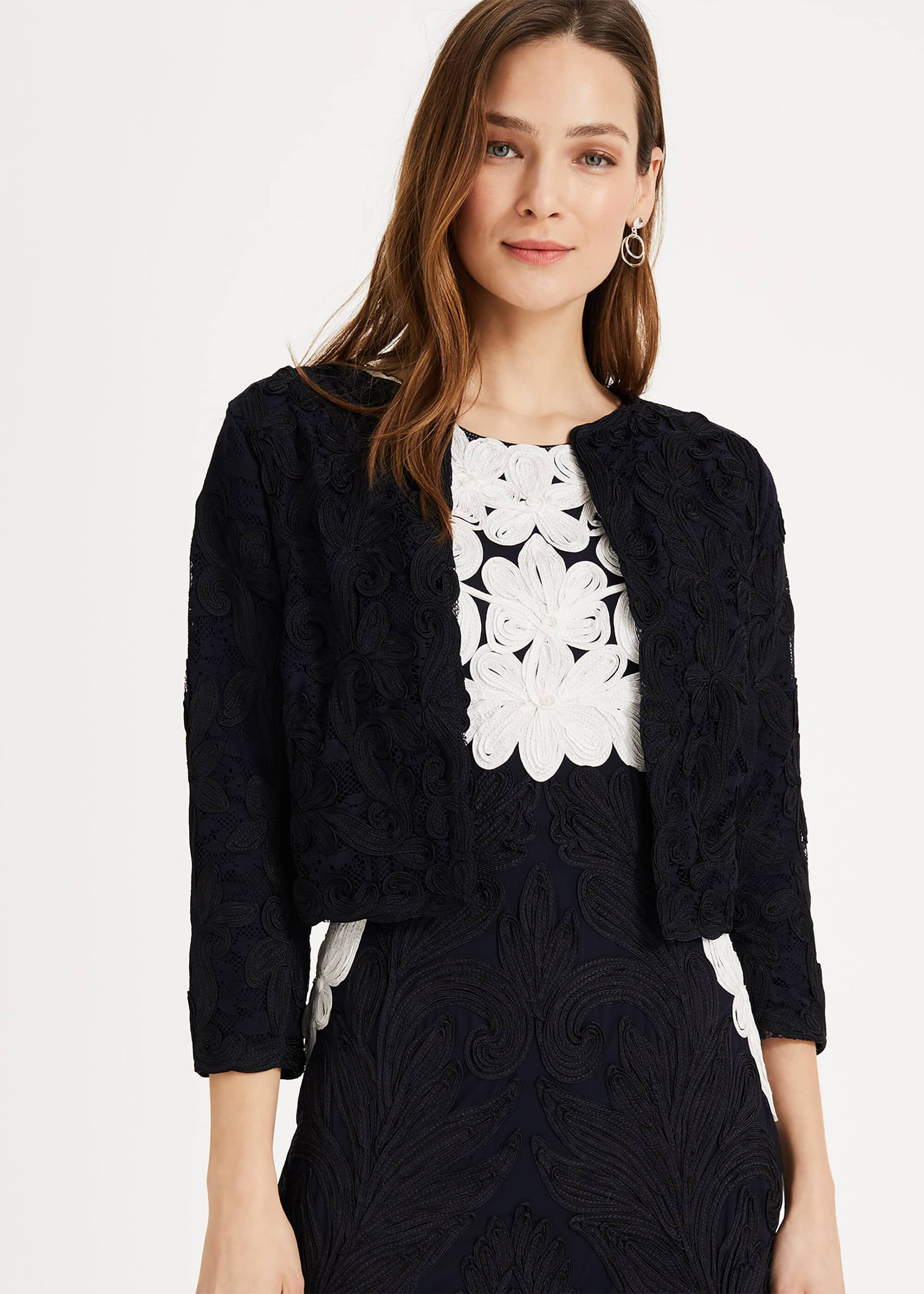 Phase Eight Catheleen Tapework Lace Jacket, Blue