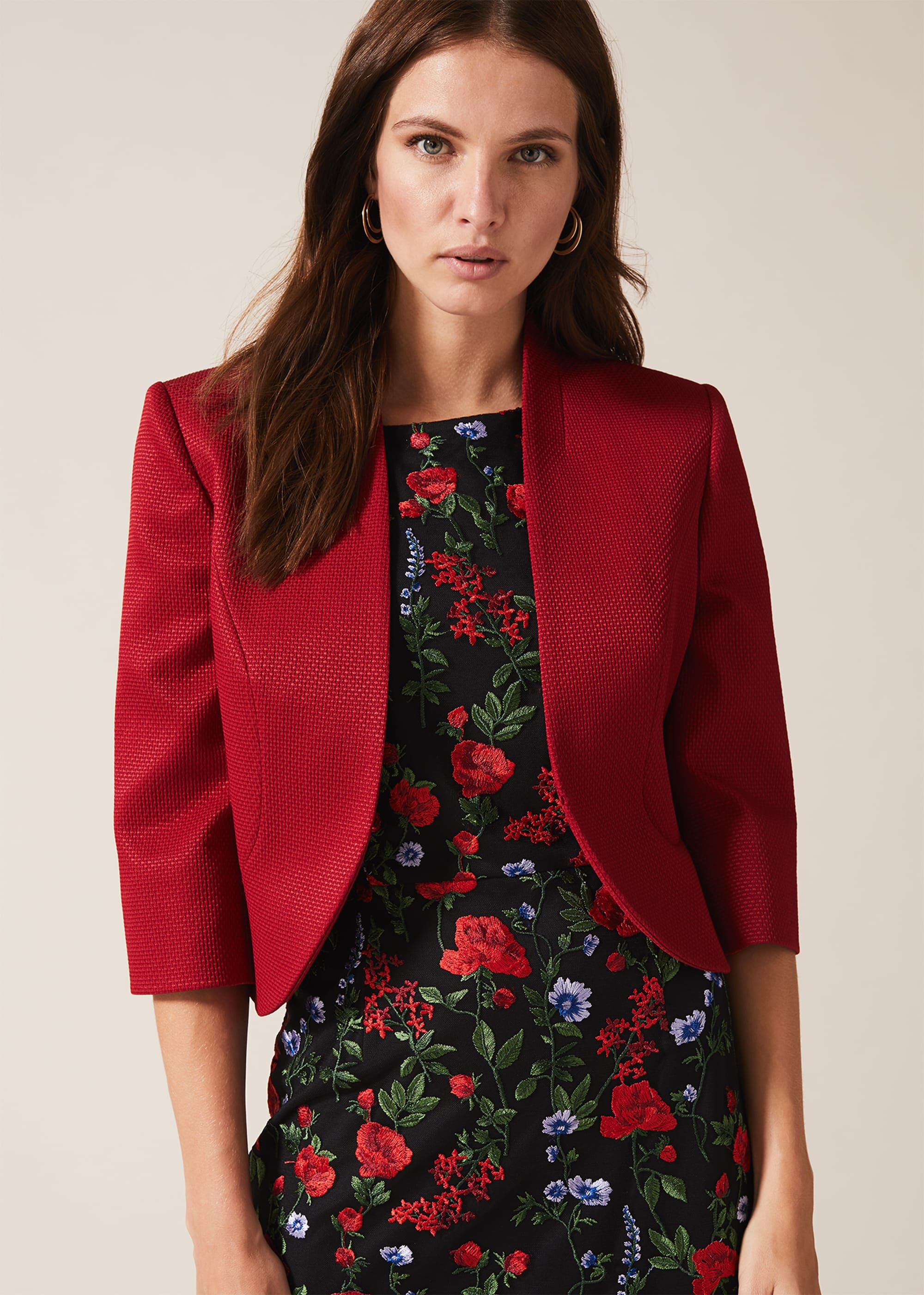 Phase Eight Tammy Textured Jacket, Red