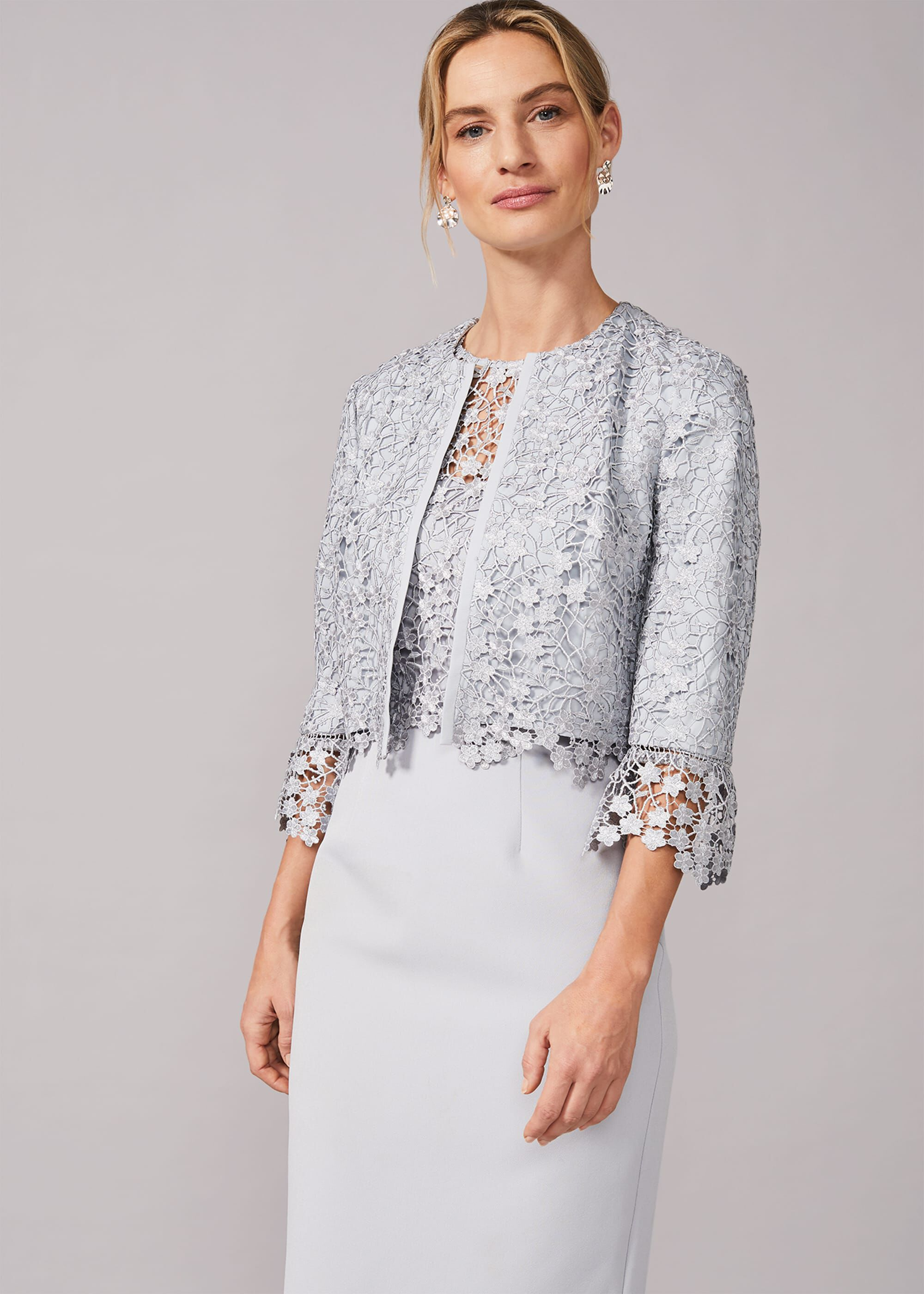 Phase Eight Mariposa Lace Occasion Jacket, Green