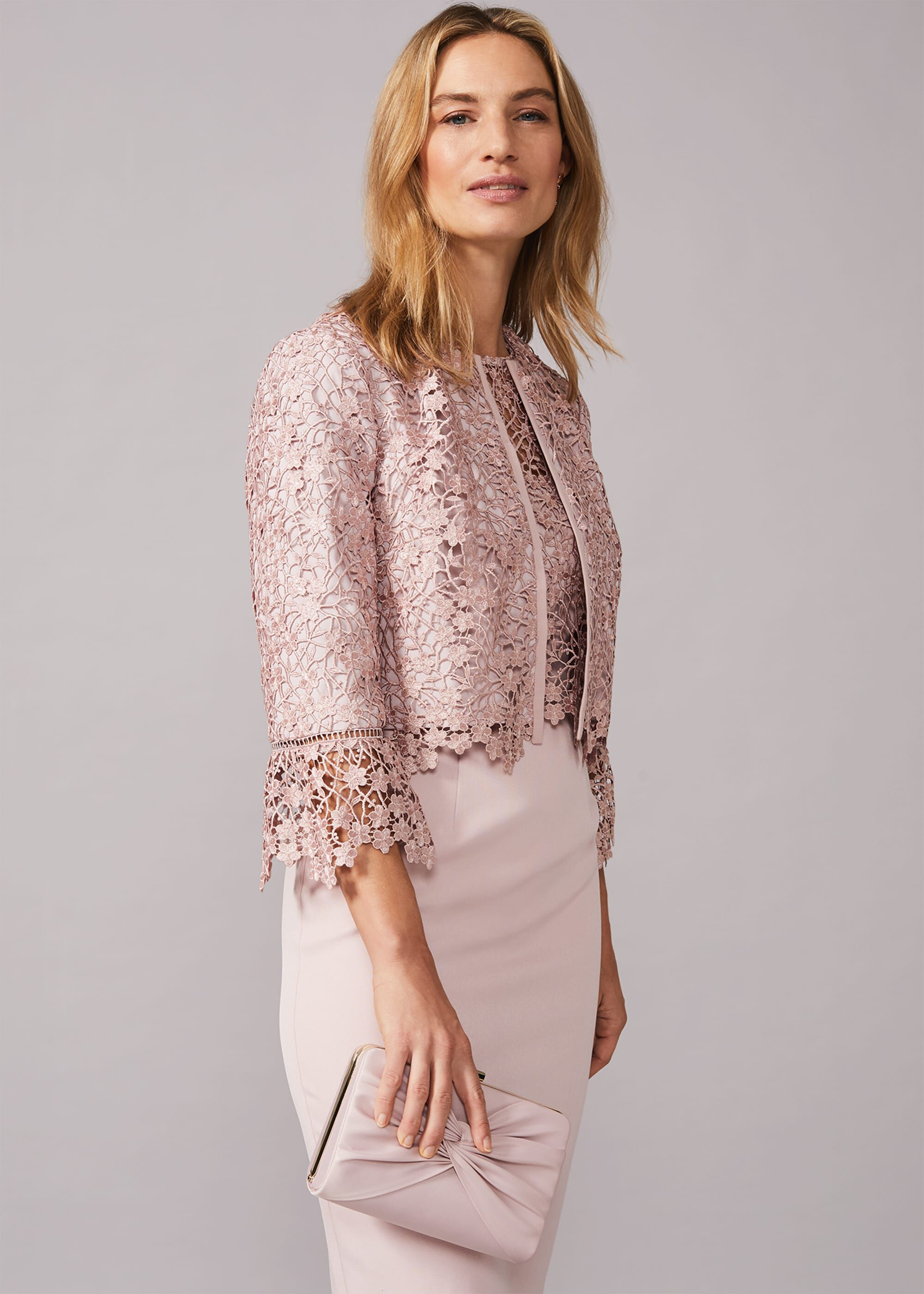 Phase Eight Mariposa Lace Occasion Jacket, Pink