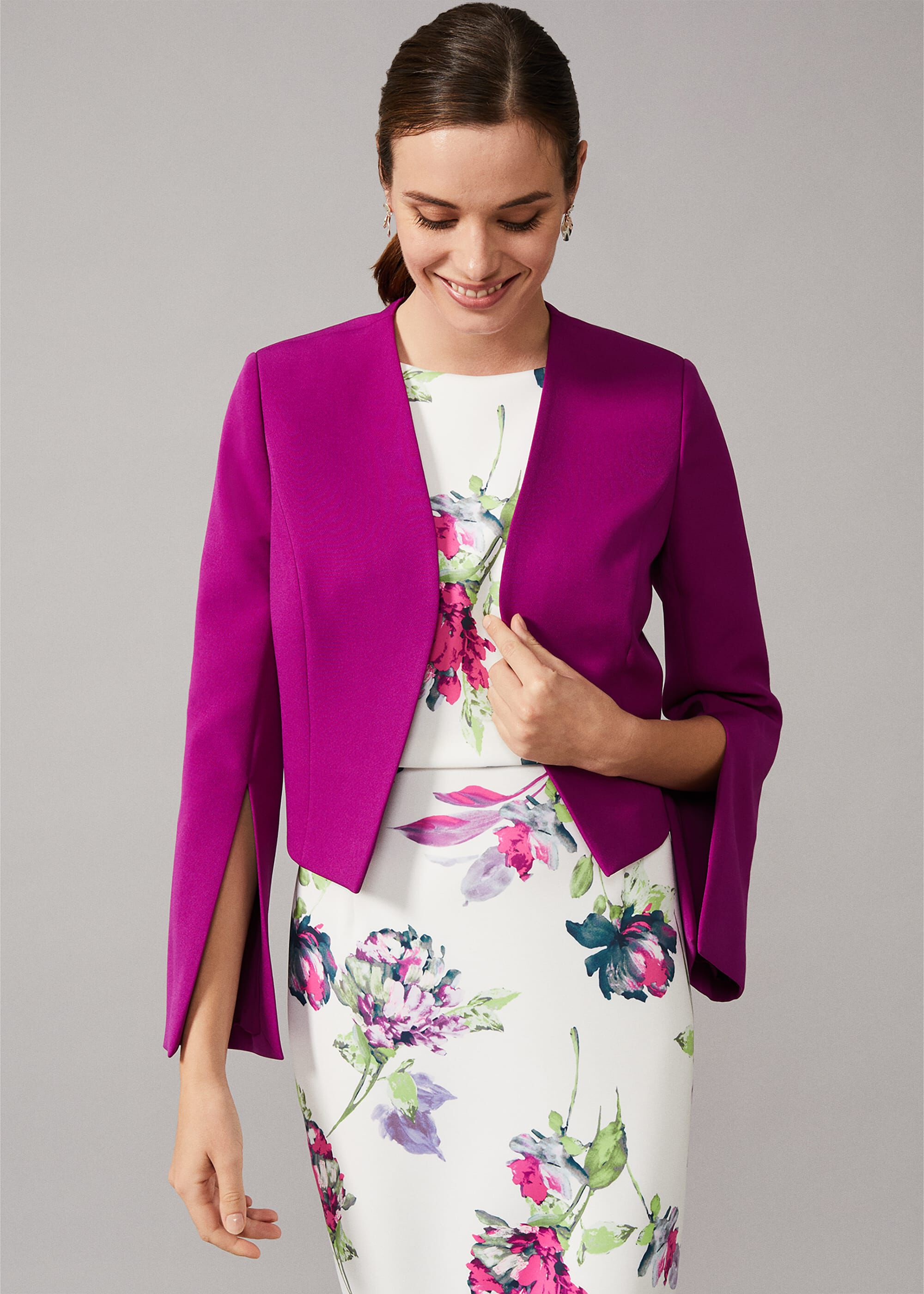 Phase Eight Bridget Split Sleeve Cropped Jacket, Purple