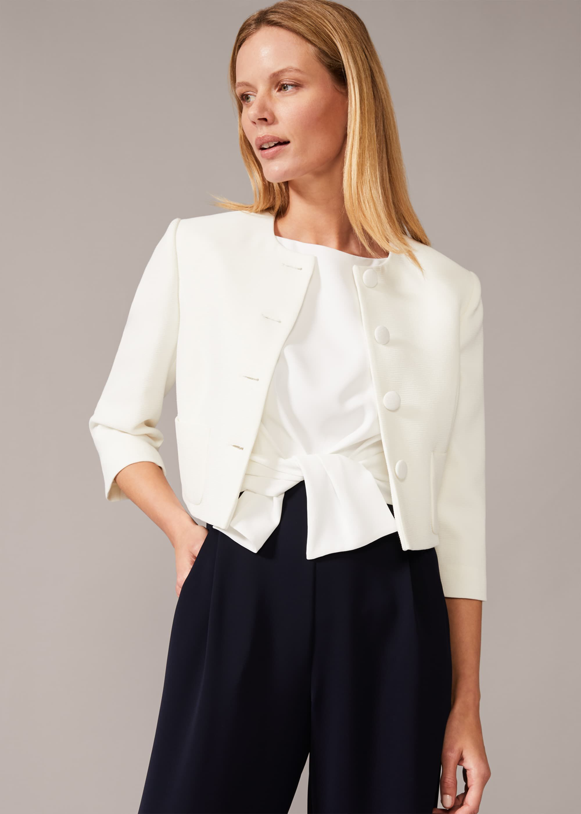 Phase Eight Catarine Button Detail Jacket, Cream
