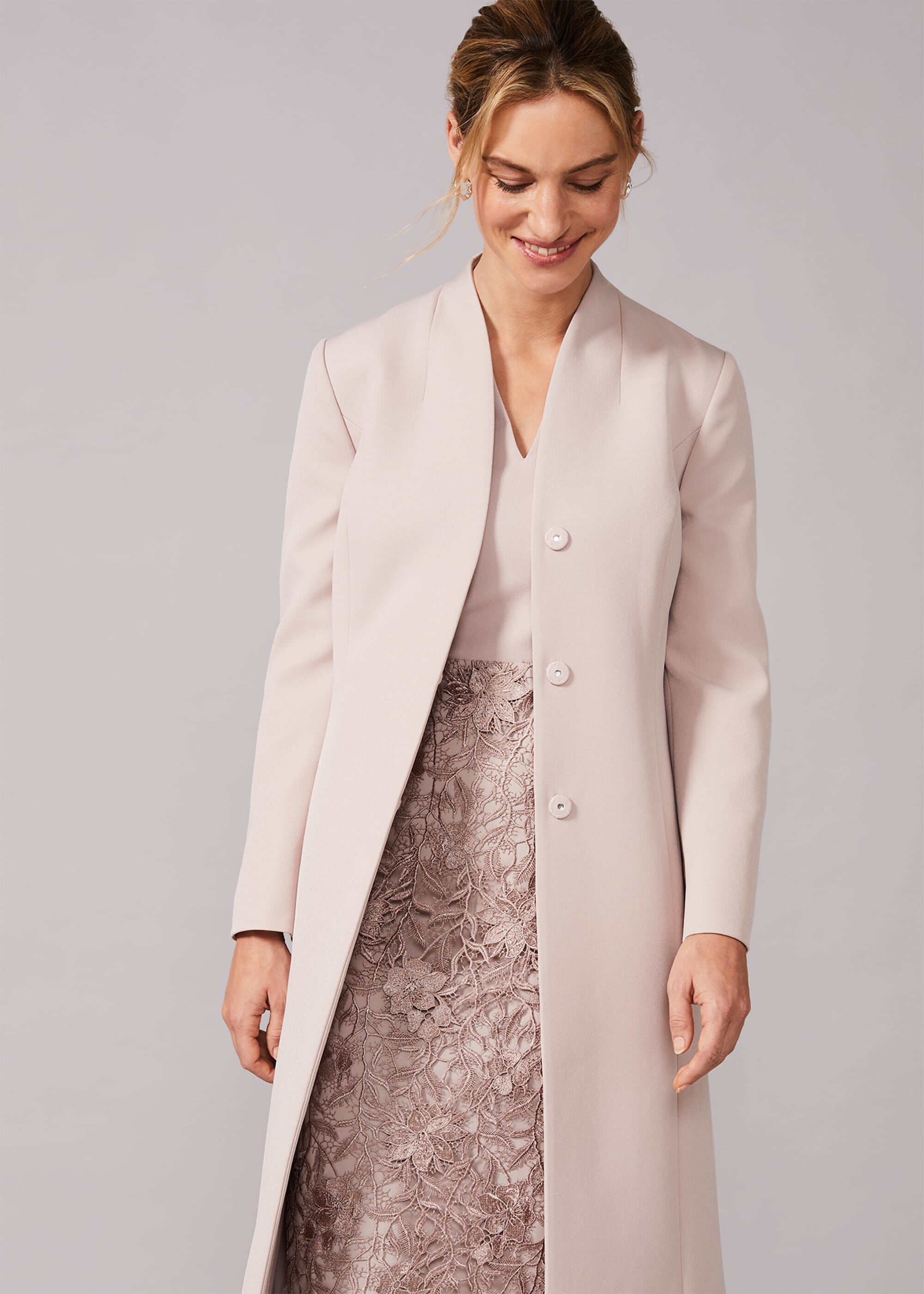 Phase Eight Constanza Bow Back Occasion Coat, Neutral