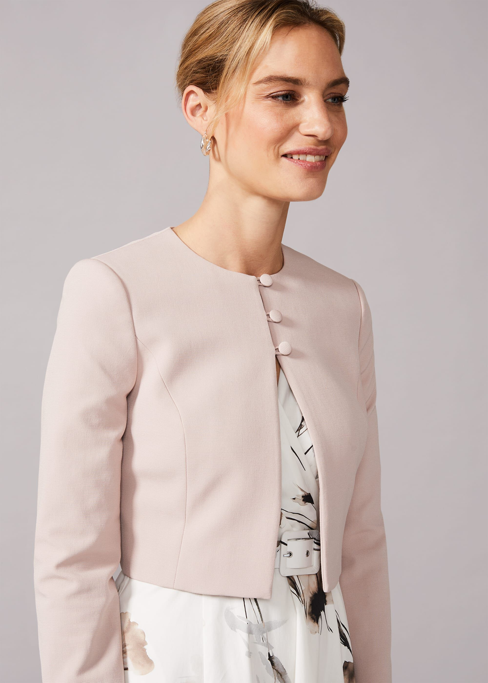 Phase Eight Maya Cropped Occasion Jacket, Neutral