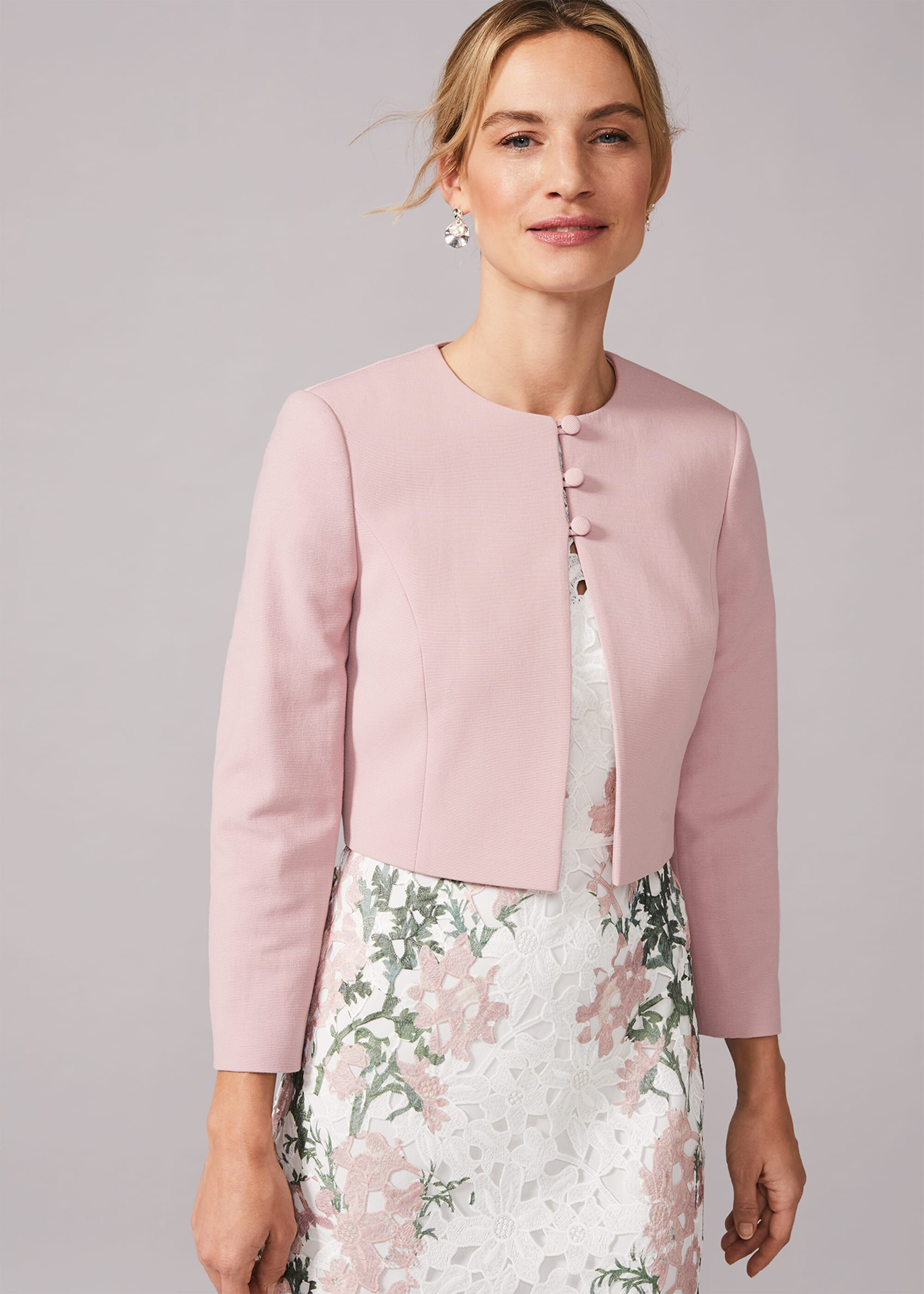 Phase Eight Maya Cropped Occasion Jacket, Pink
