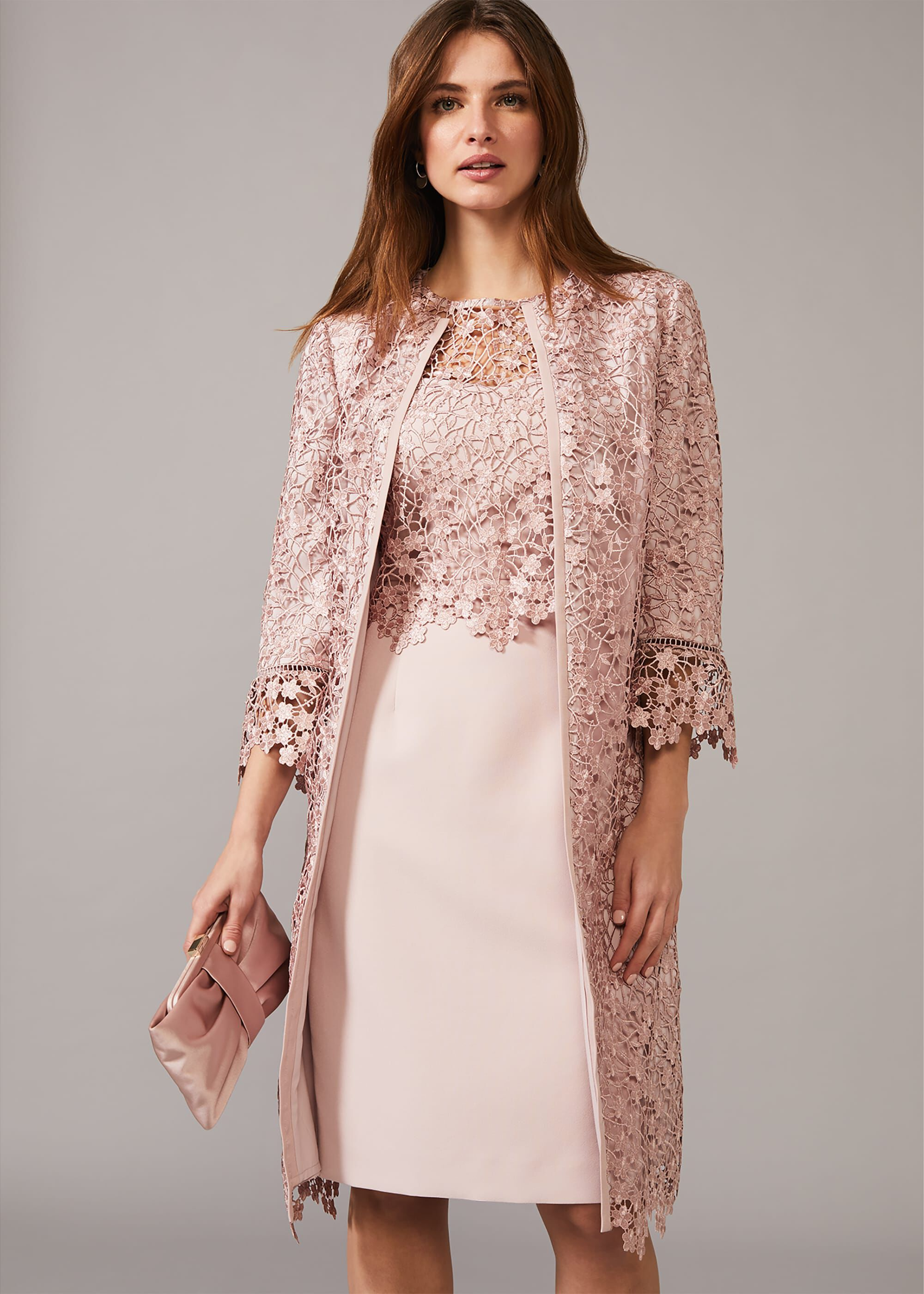 Phase Eight Mariposa Lace Occasion Coat, Pink