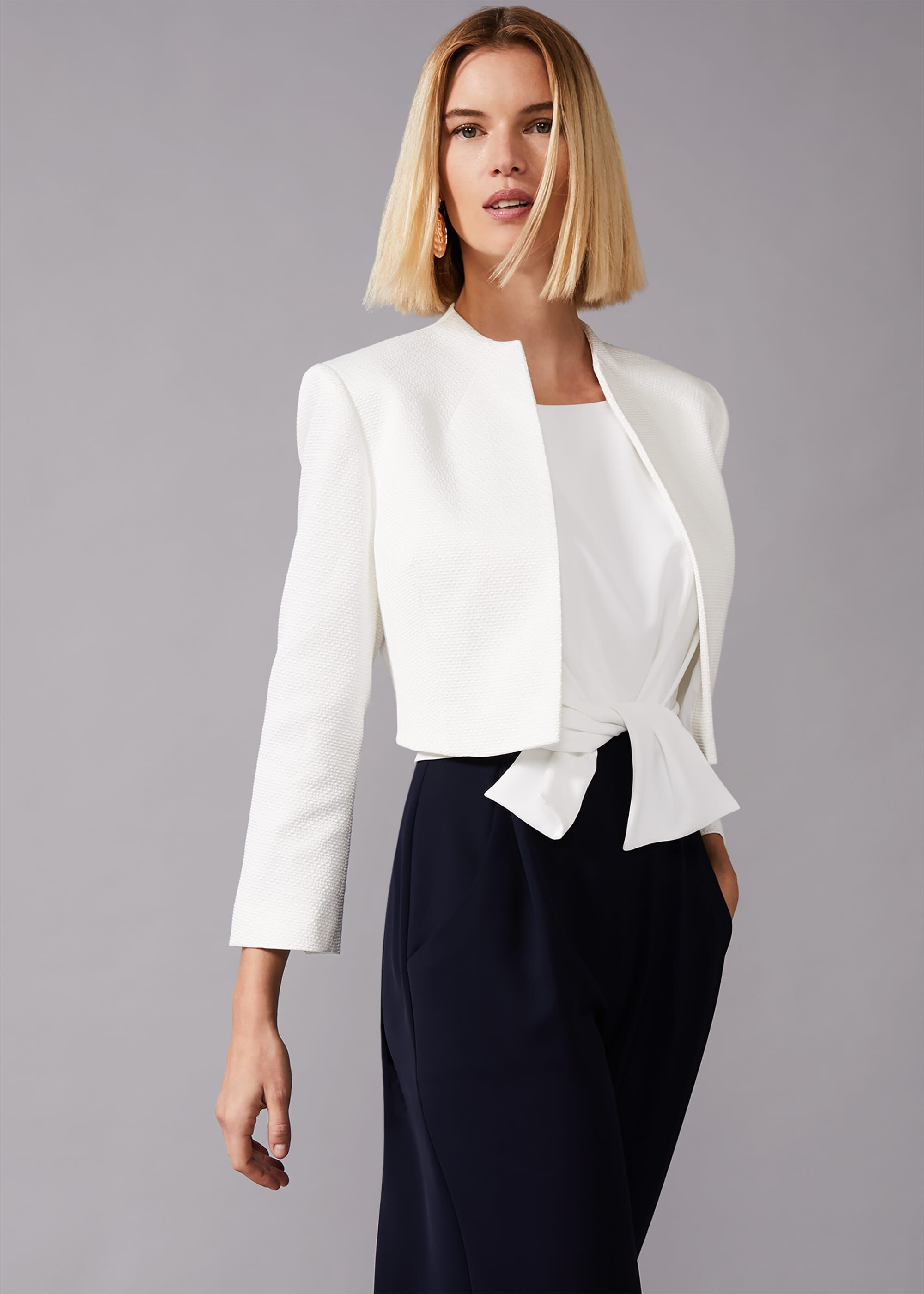 Phase Eight Karlee Textured Occasion Jacket, Cream