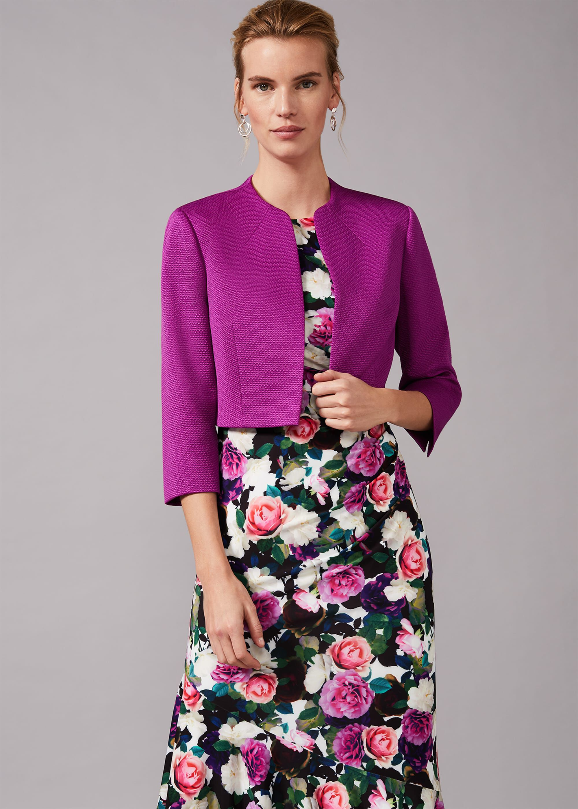 Phase Eight Karlee Textured Occasion Jacket, Purple