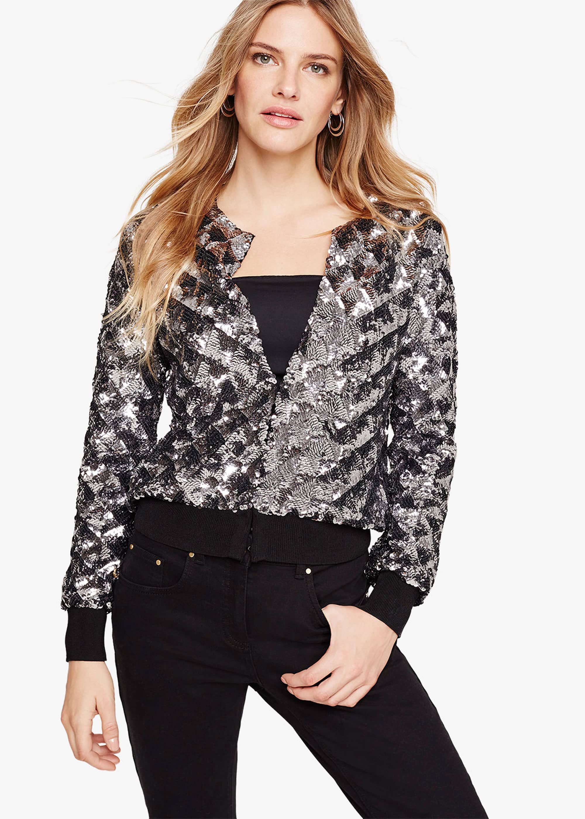 Damsel in a Dress Oretta Sequin Bomber Jacket, Grey