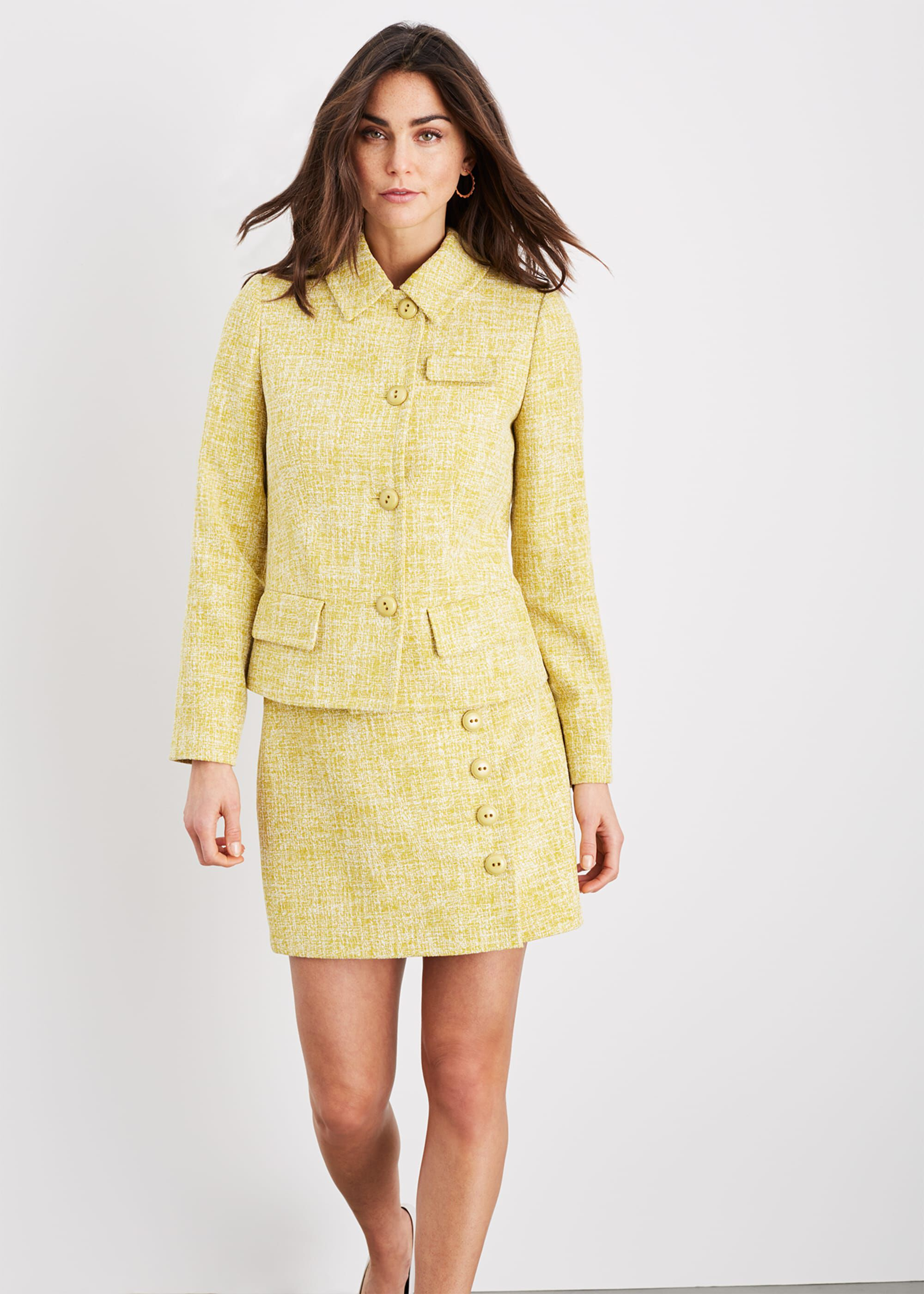 Damsel in a Dress Demelza Tweed Jacket, Yellow