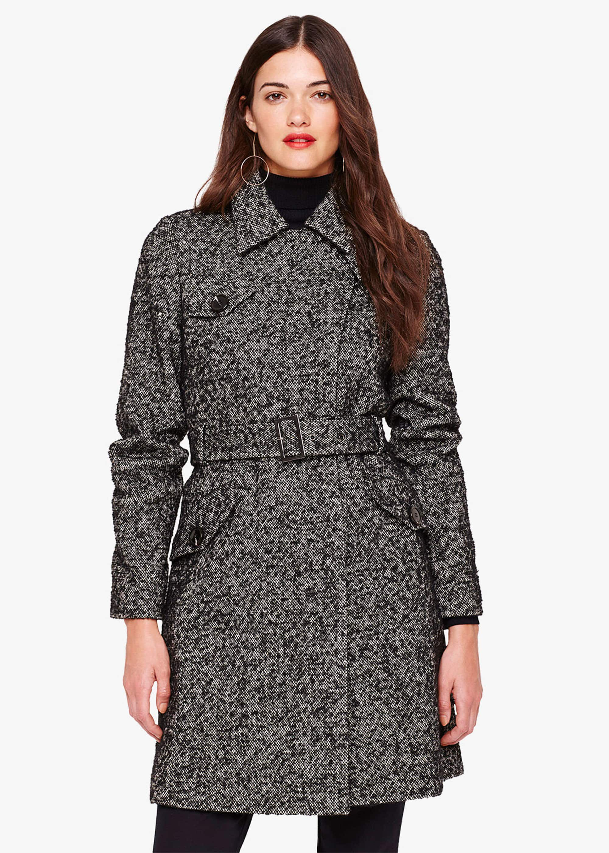 Damsel in a Dress Anna Tweed Belted Coat, Black