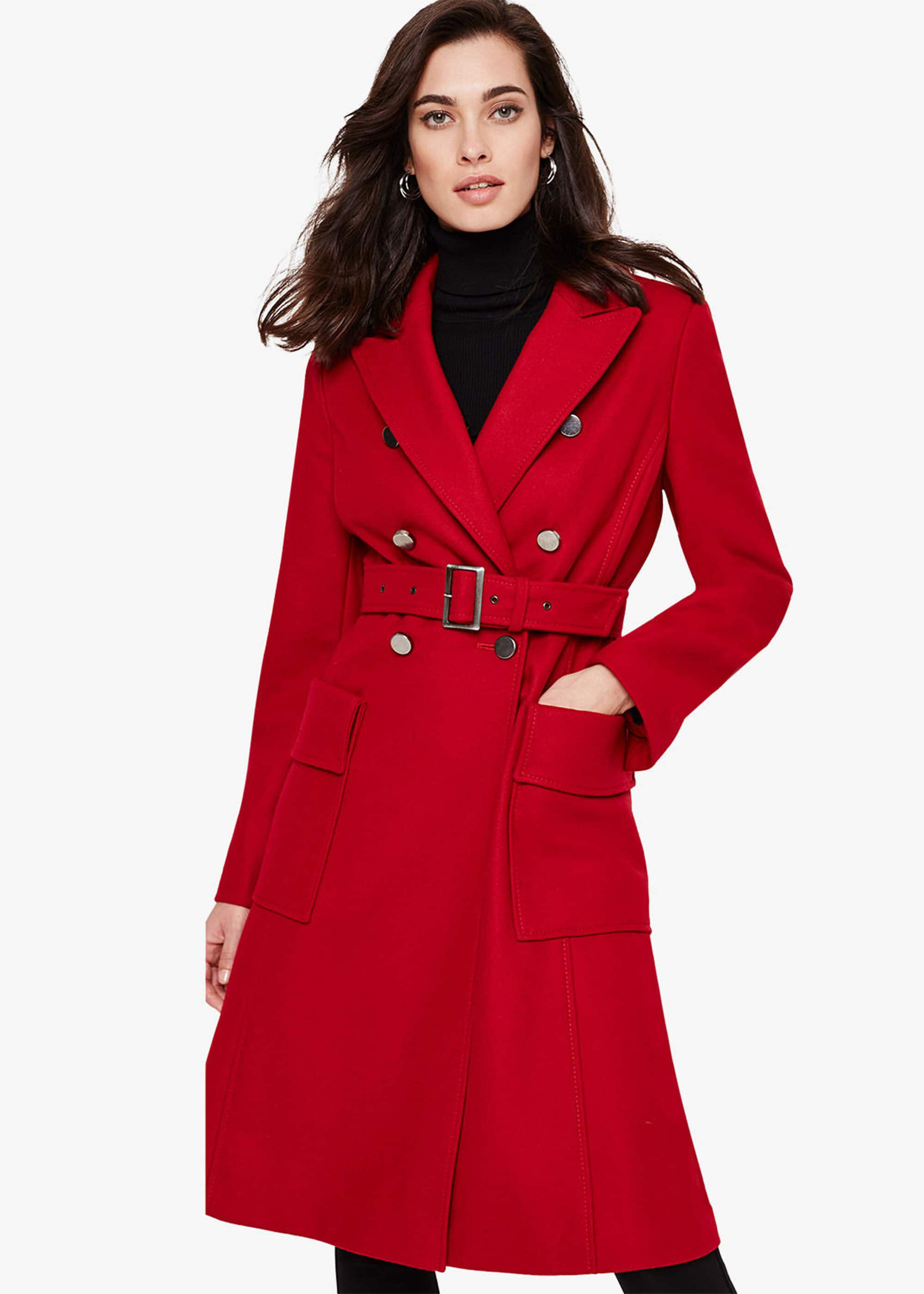 Damsel in a Dress Roxi Large Pocket Belted Coat, Red