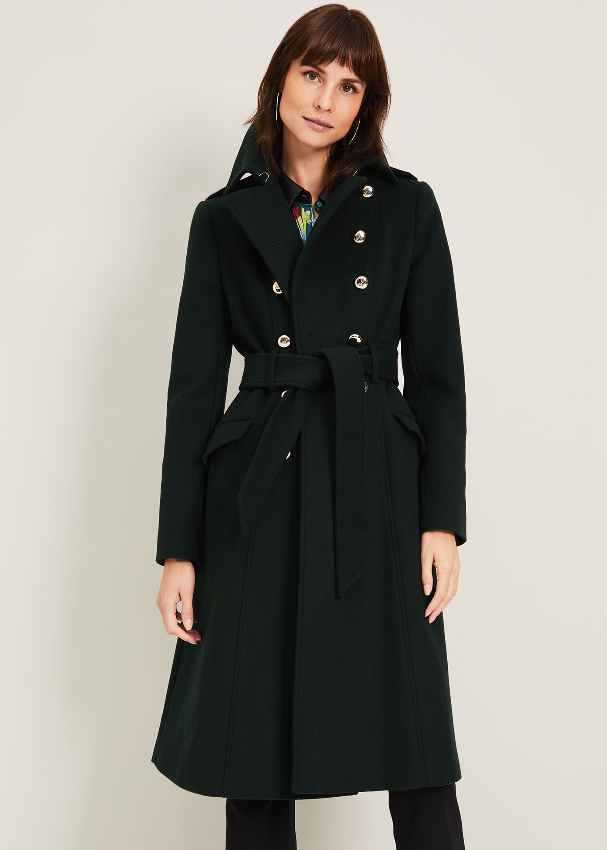 Damsel in a Dress Elletra Military Wool Coat, Green