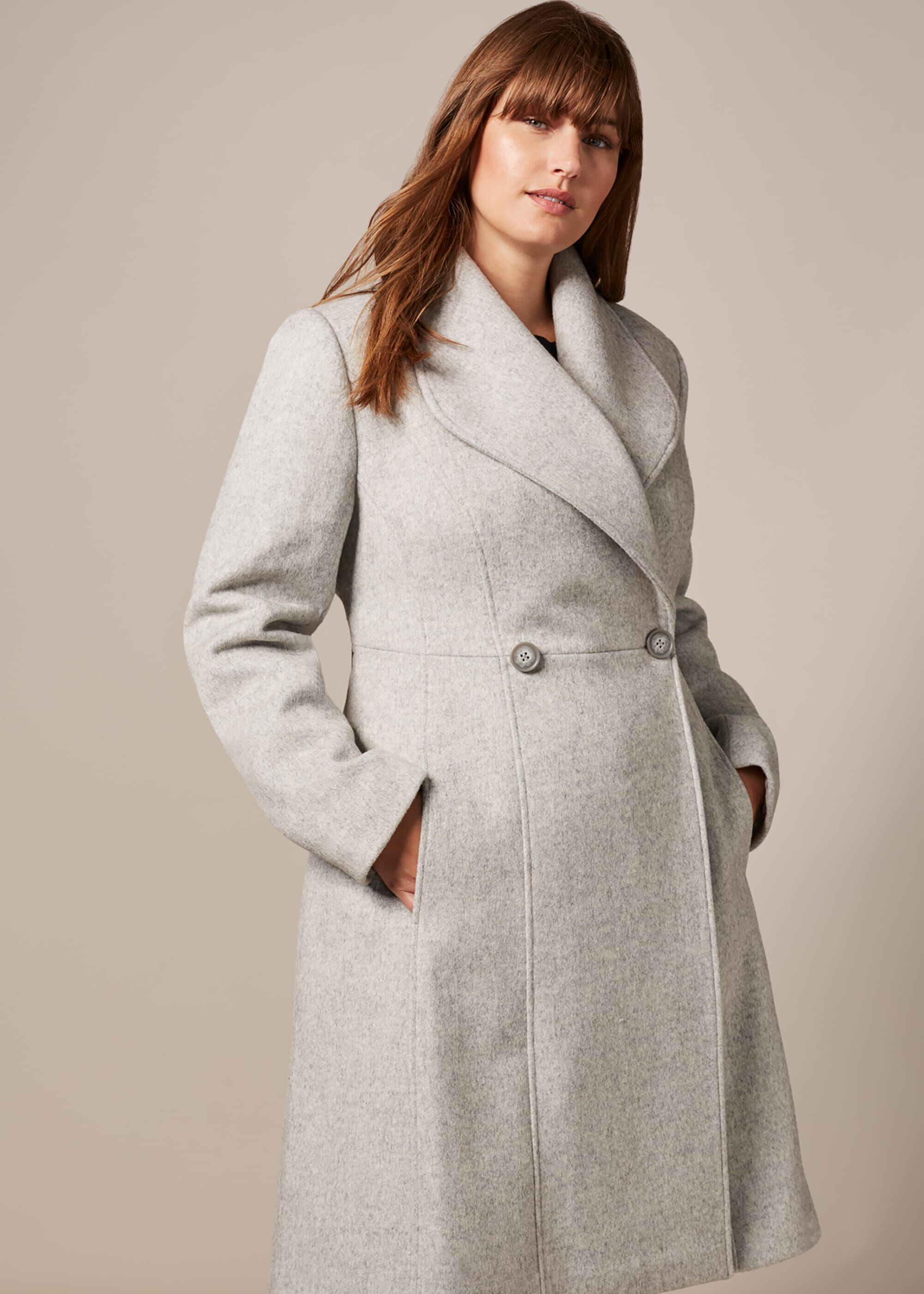 1940s Style Coats and Jackets for Sale Studio 8 Ayda Wool Coat Grey £176.00 AT vintagedancer.com