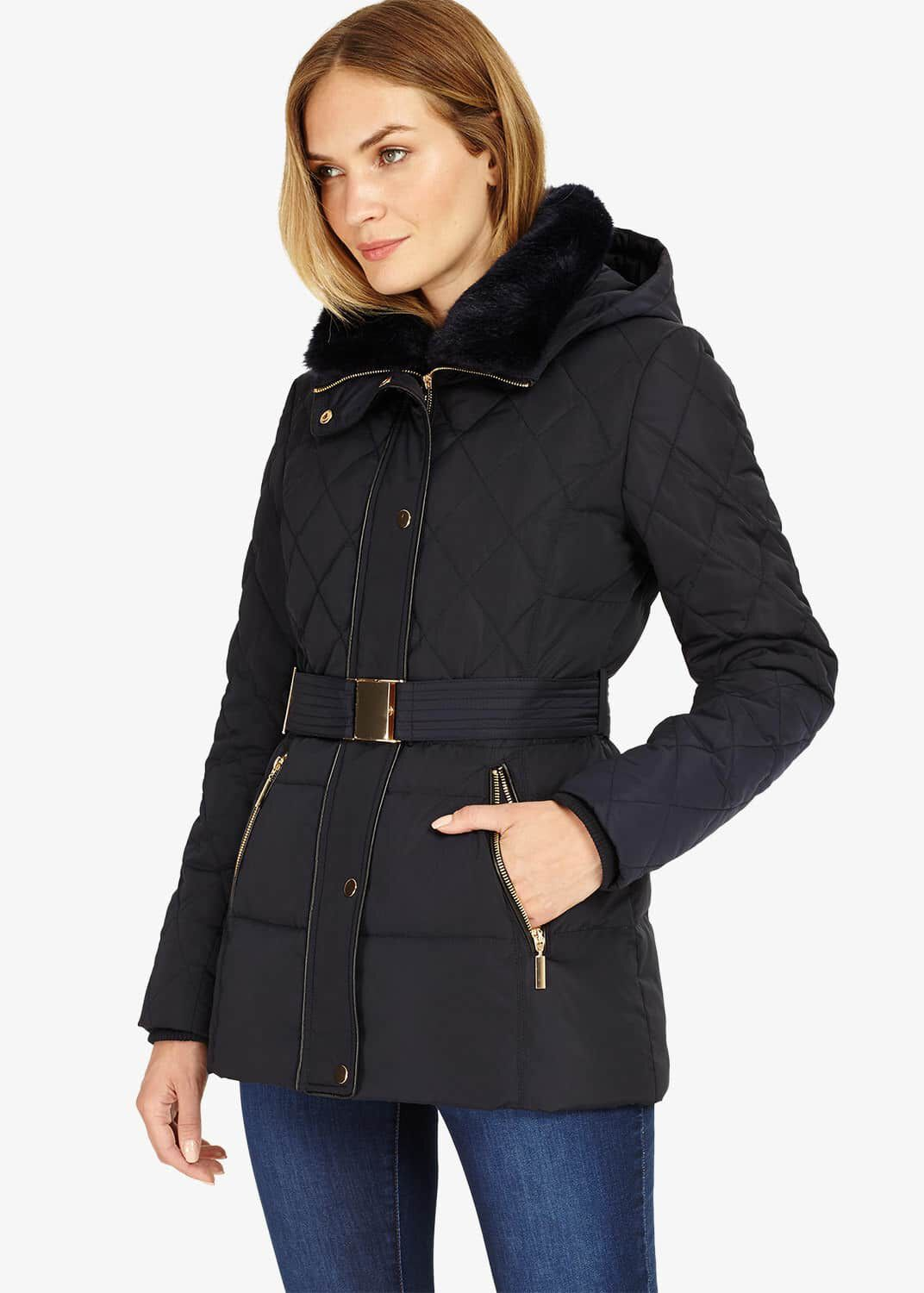 Phase Eight Deasia Short Diamond Puffer Coat, Blue