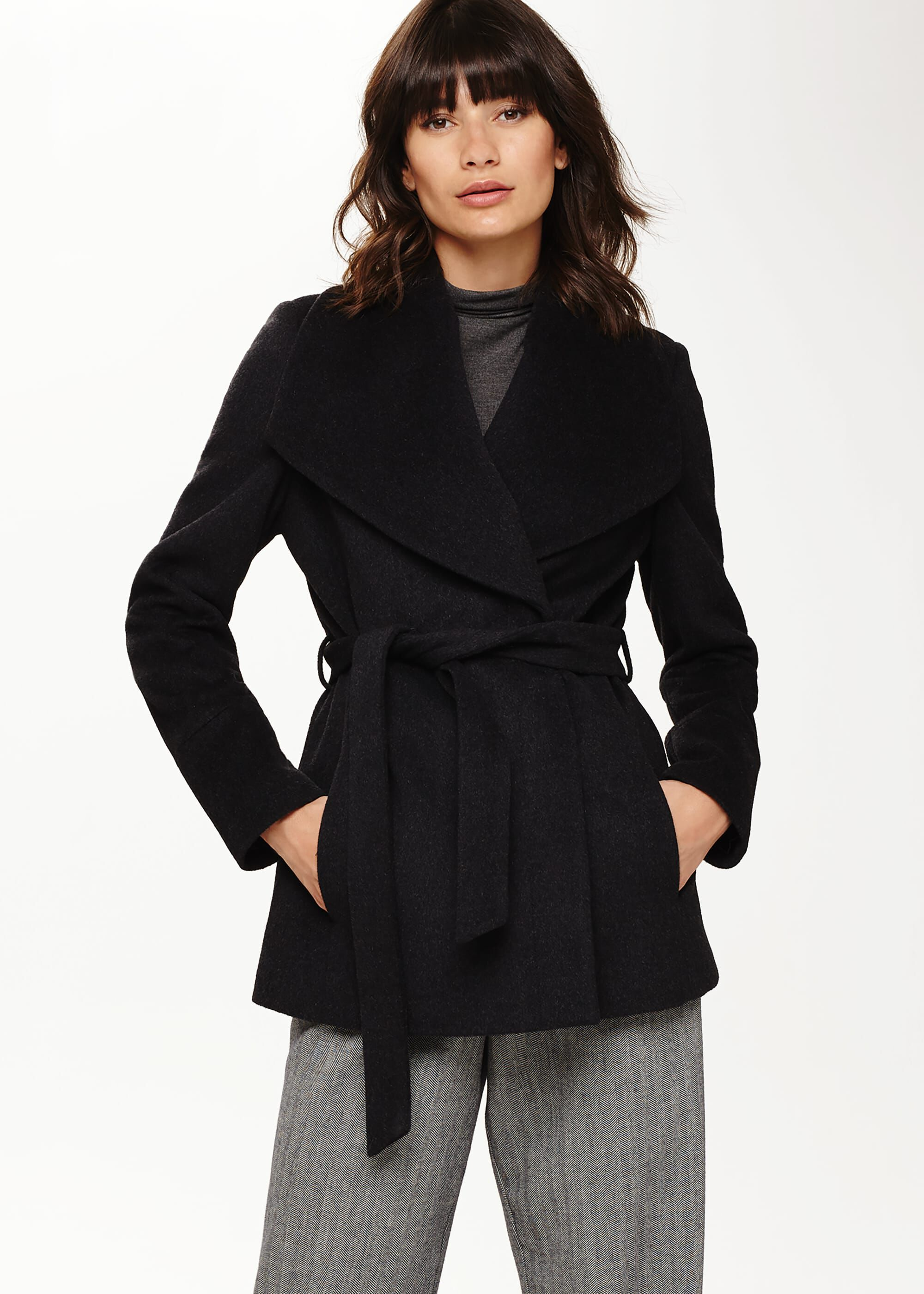 Phase Eight Nicci Short Belted Wool Coat, Grey