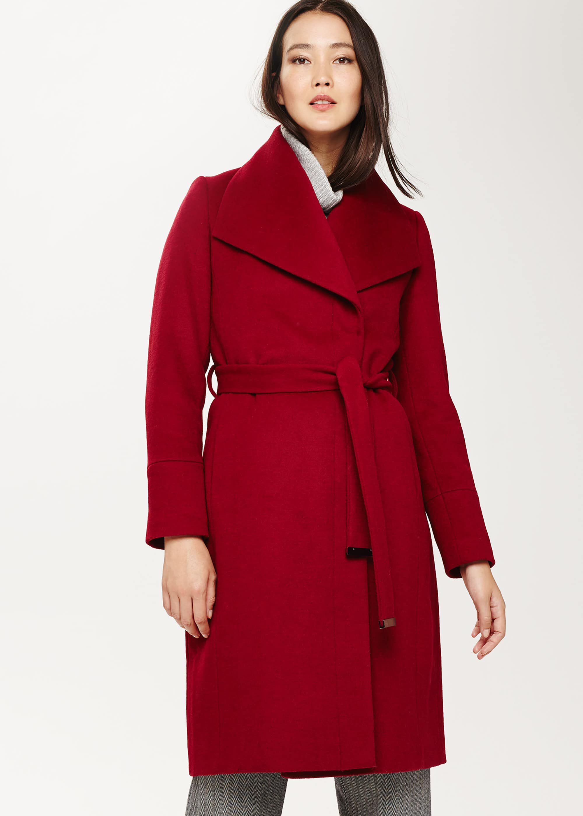 Phase Eight Nicci Belted Wool Coat, Red