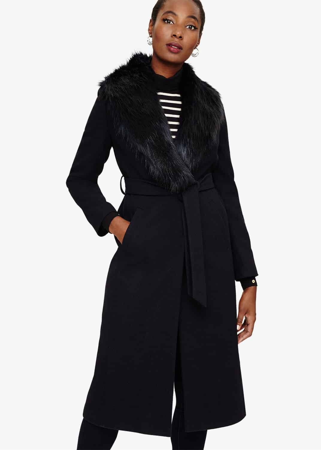 Phase Eight Fergie Faux Fur Collar Coat, Blue