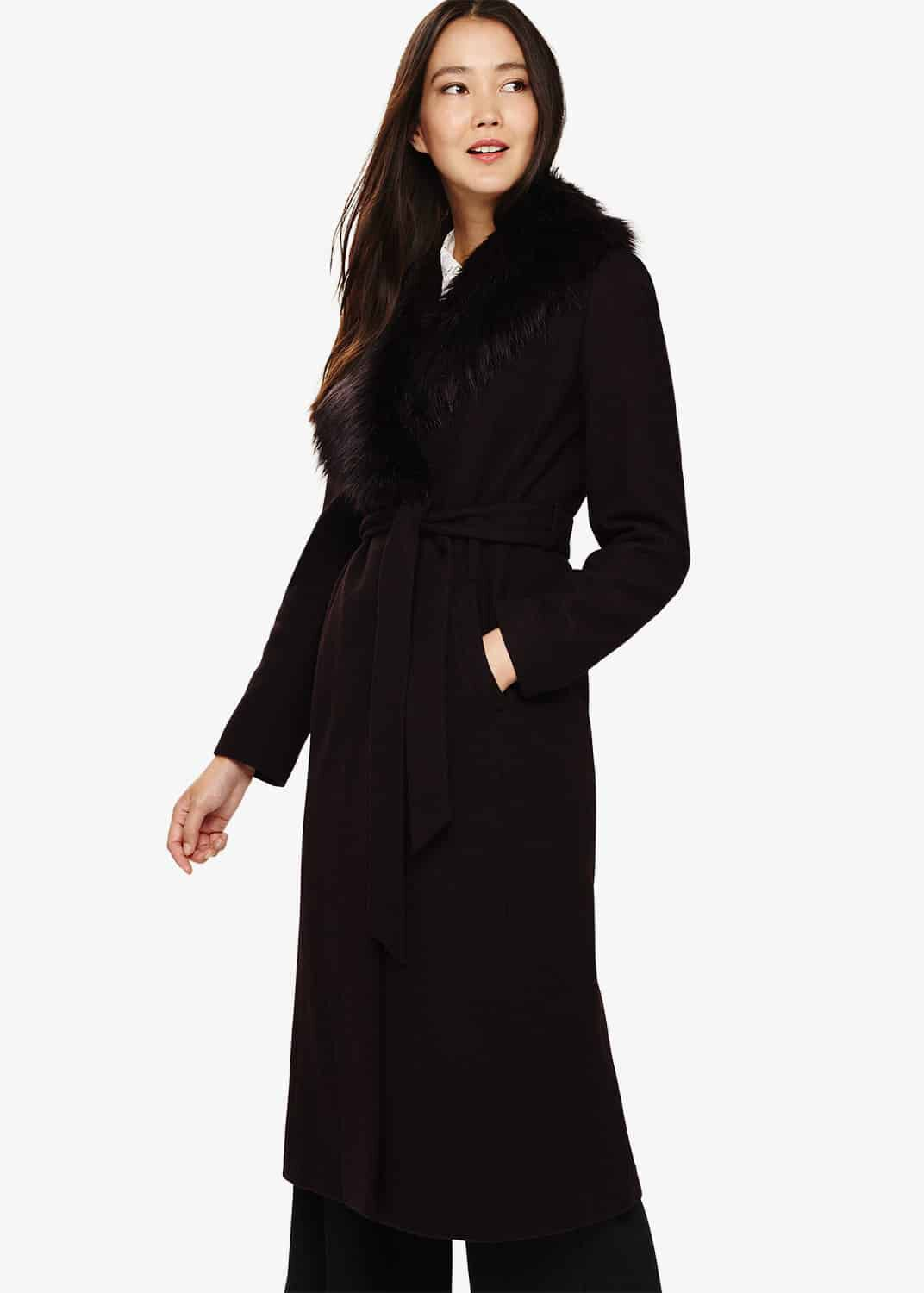 Phase Eight Fergie Faux Fur Collar Coat, Red