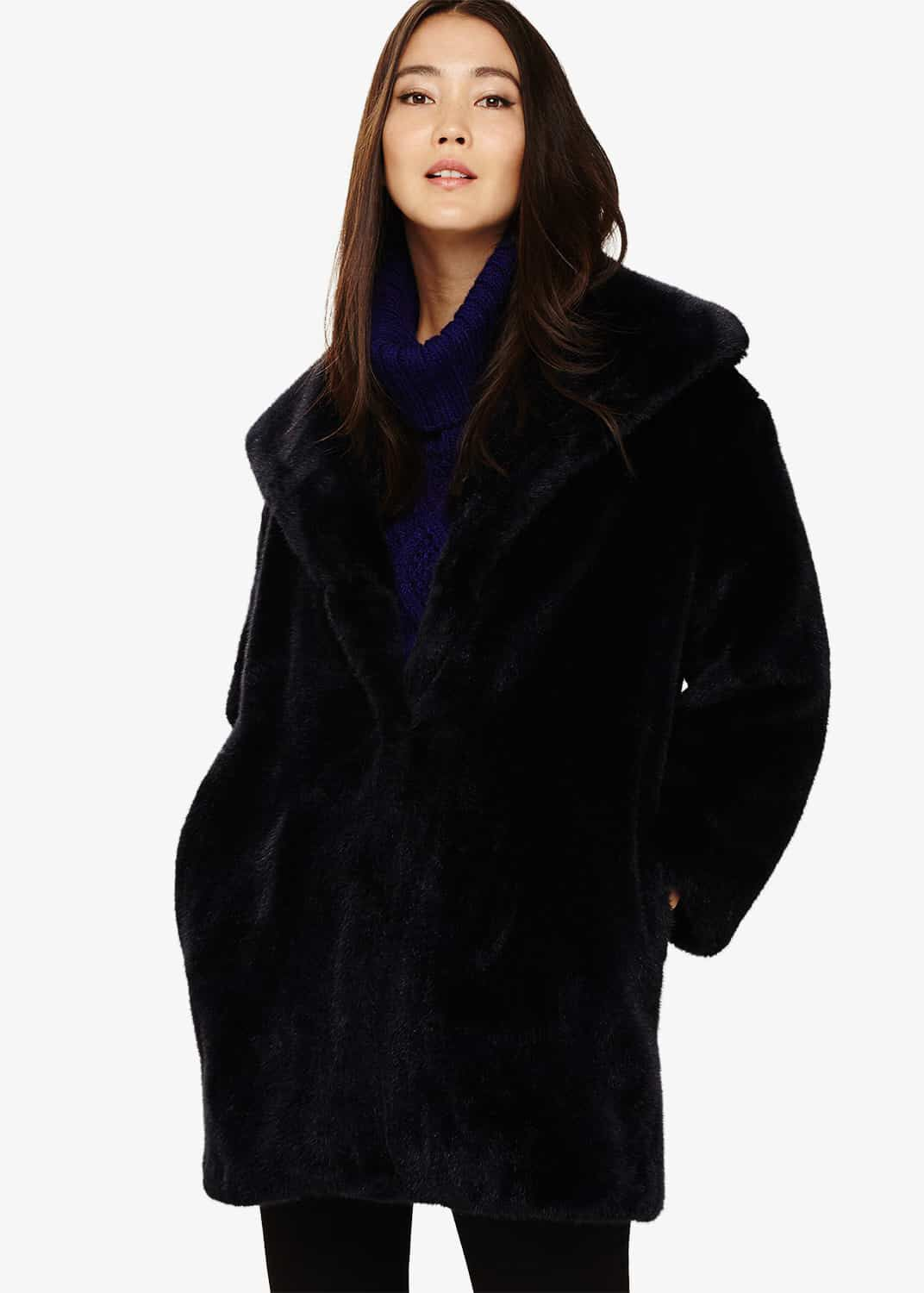 Phase Eight Beckie Faux Fur Coat, Blue