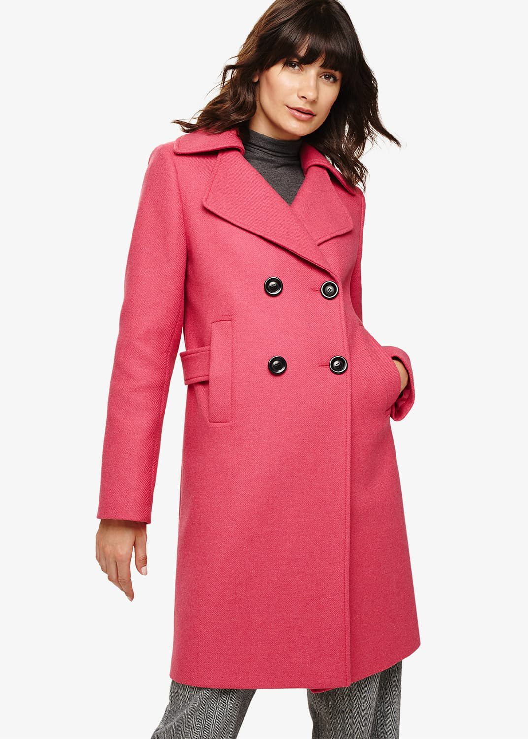 Phase Eight Fairlie Double Breasted Coat, Pink