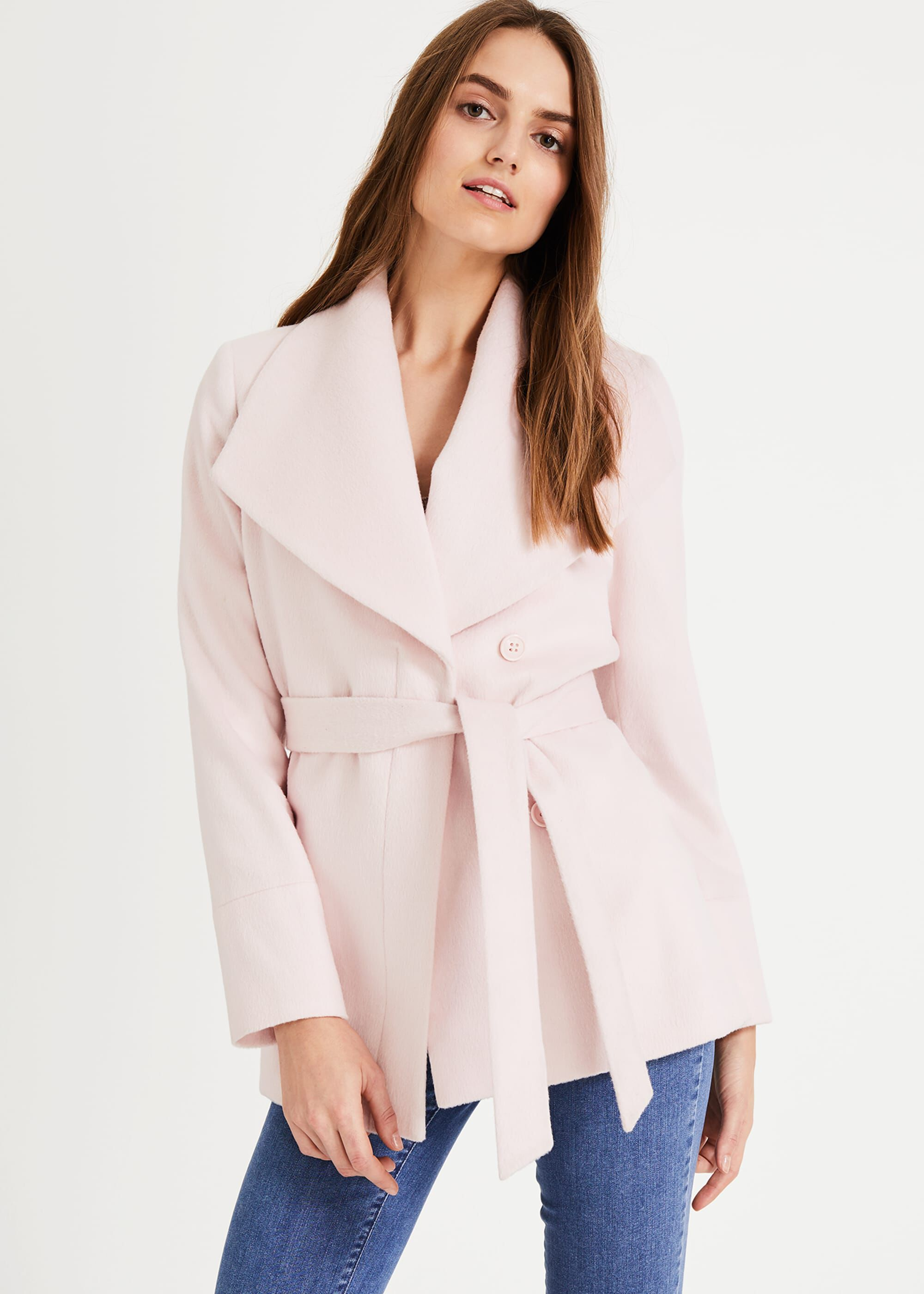 Phase Eight Nicci Short Belted Wool Coat, Pink