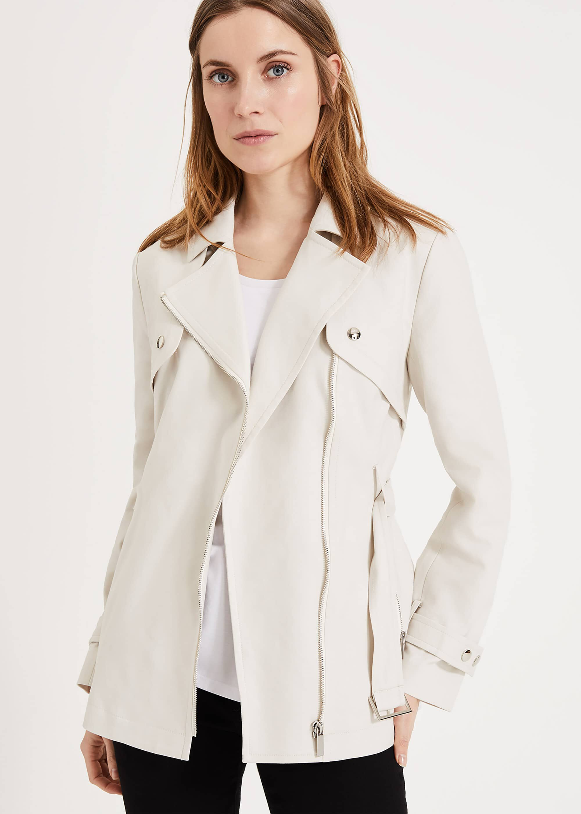 Phase Eight Cara Soft Biker Coat, White