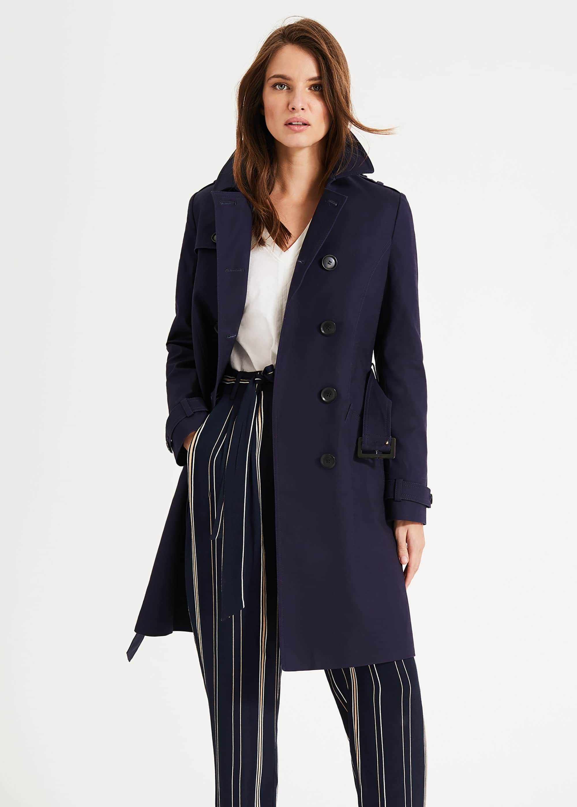 Phase Eight Tabatha Trench Coat, Blue