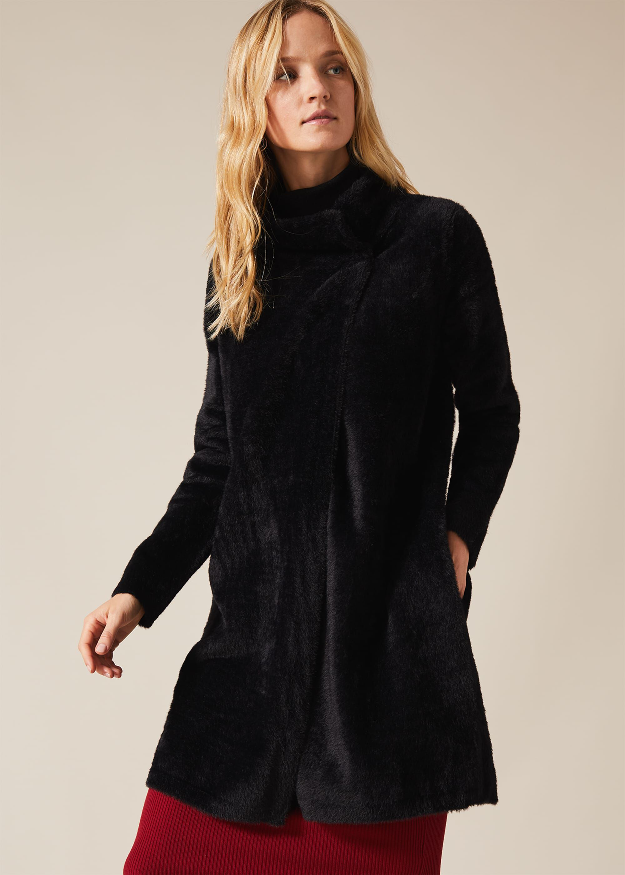 Vintage Coats & Jackets | Retro Coats and Jackets Phase Eight Fiona Fluffy Knit Coatigan Black £85.00 AT vintagedancer.com