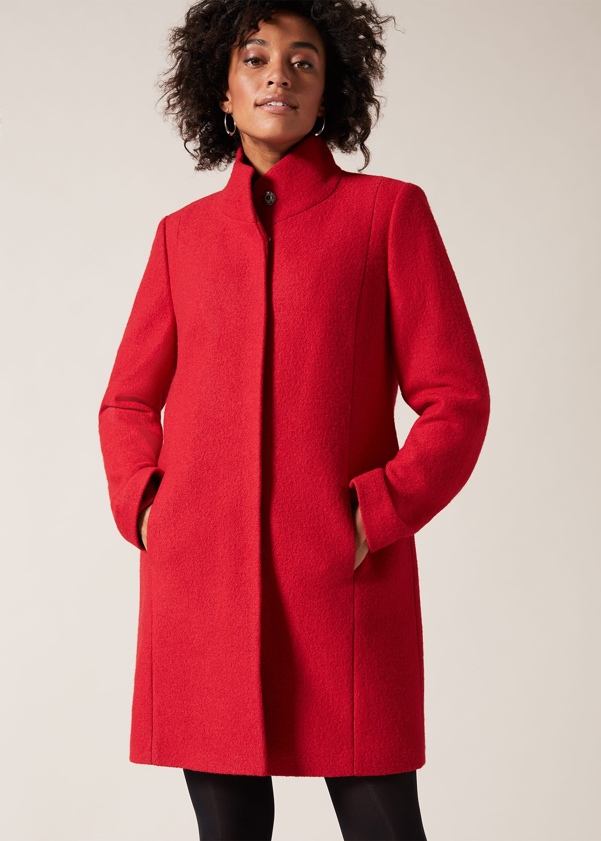 1950s Jackets, Coats, Bolero | Swing, Pin Up, Rockabilly Phase Eight Bailie Boiled Wool Coat Red £129.00 AT vintagedancer.com