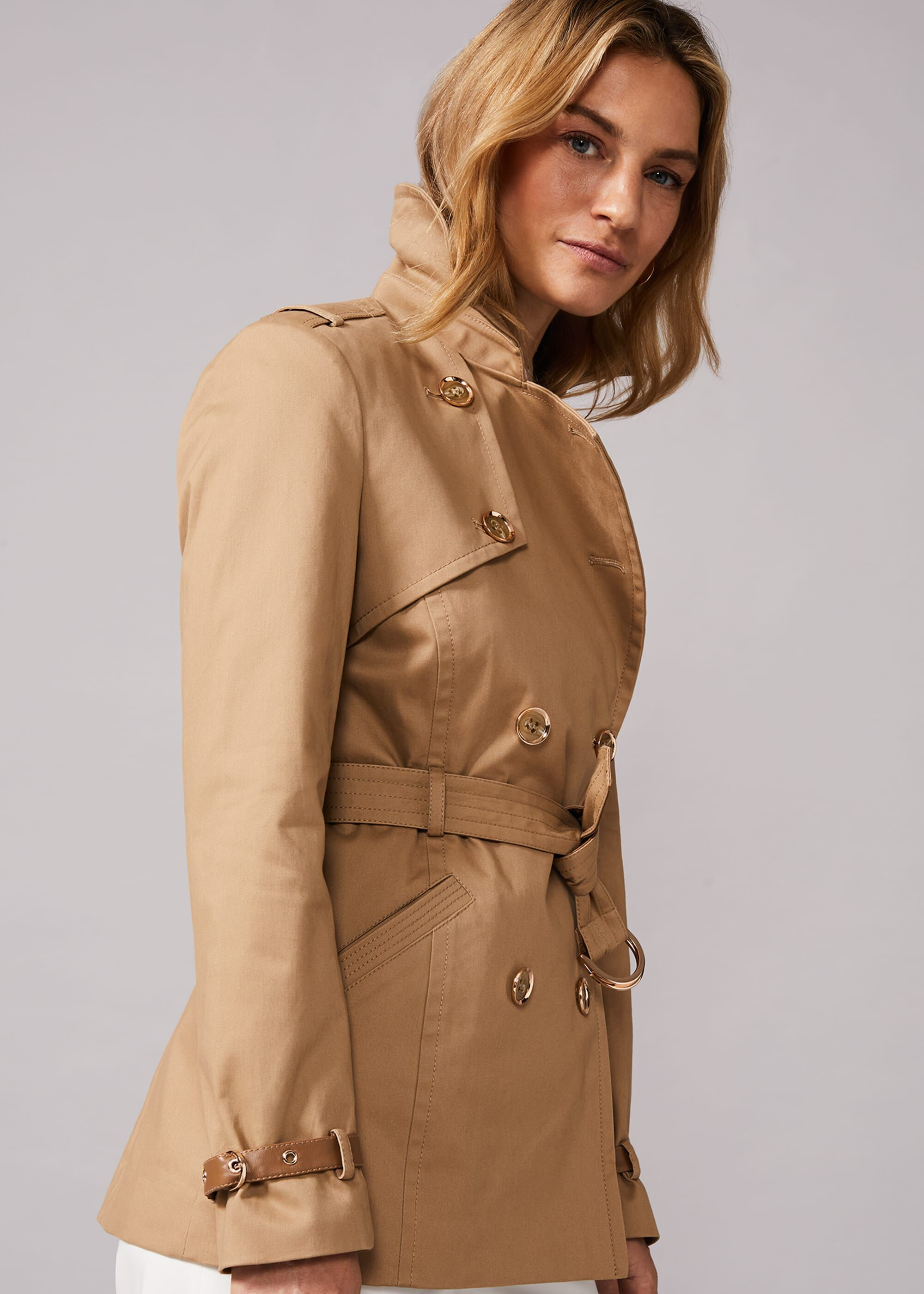 Phase Eight Sainte Short Trench Coat, Brown