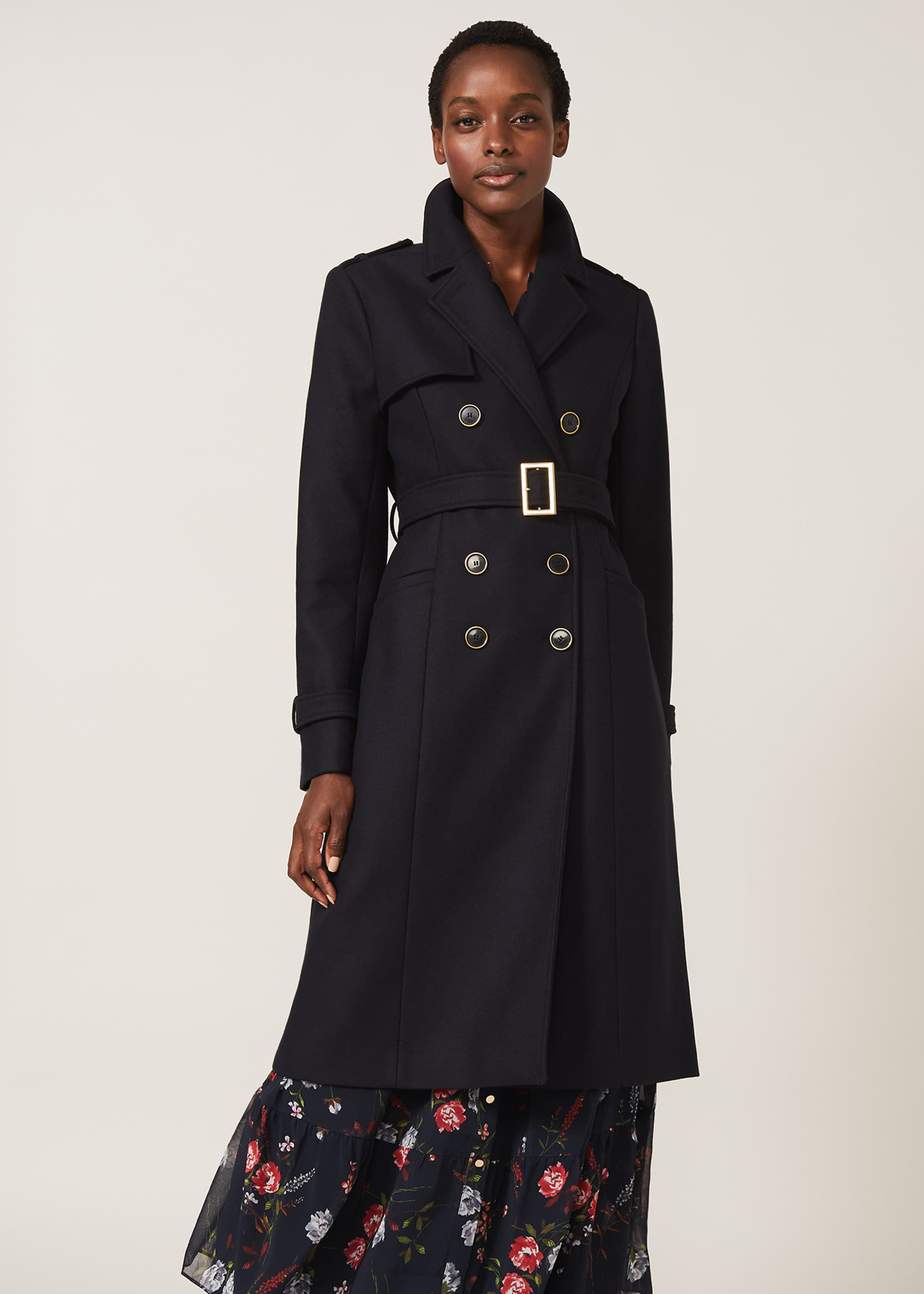 Phase Eight Manika Military Wool Coat, Blue