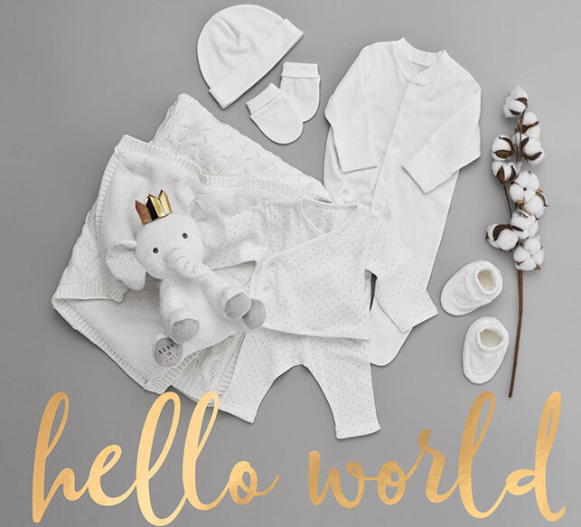 Selection of M&S baby clothes, blanket and toy, including our baby organic cotton range